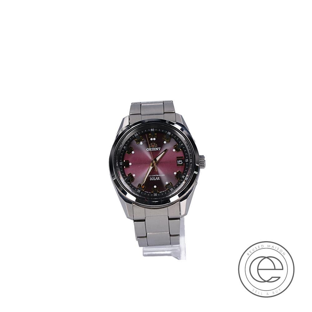 ORIENTオリエント WV0081SE Neo70'sネオセブンティーズ ソーラー電波腕時計 シルバー/パープル メンズ 【中古】