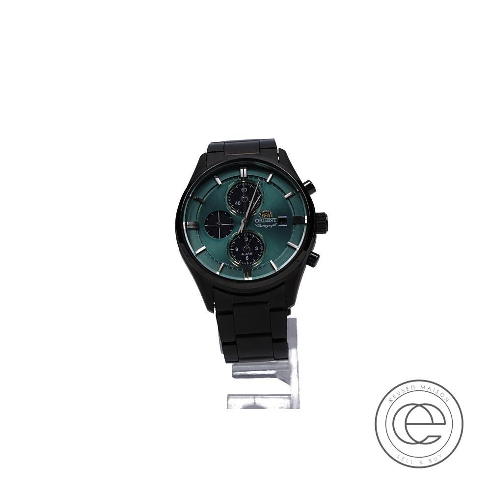 ORIENTオリエント RN-TY0001E コンテンポラリー ライトチャージ クロノグラフ 腕時計 ブラックケース×グリーン文字盤 メンズ 【中古】