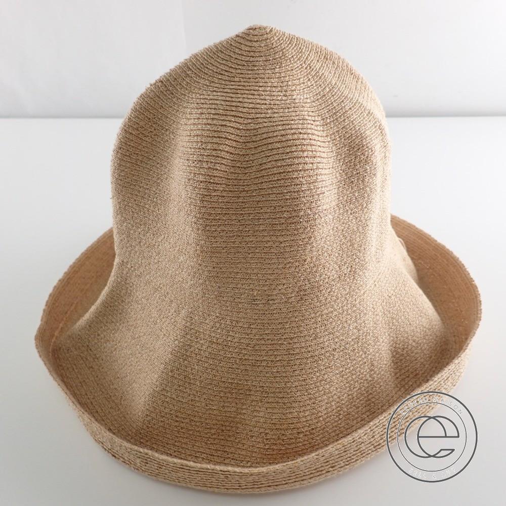 Athena New Yorkアシーナニューヨーク グログランリボン付き ラフィアハット 帽子 ベージュ レディース 【中古】