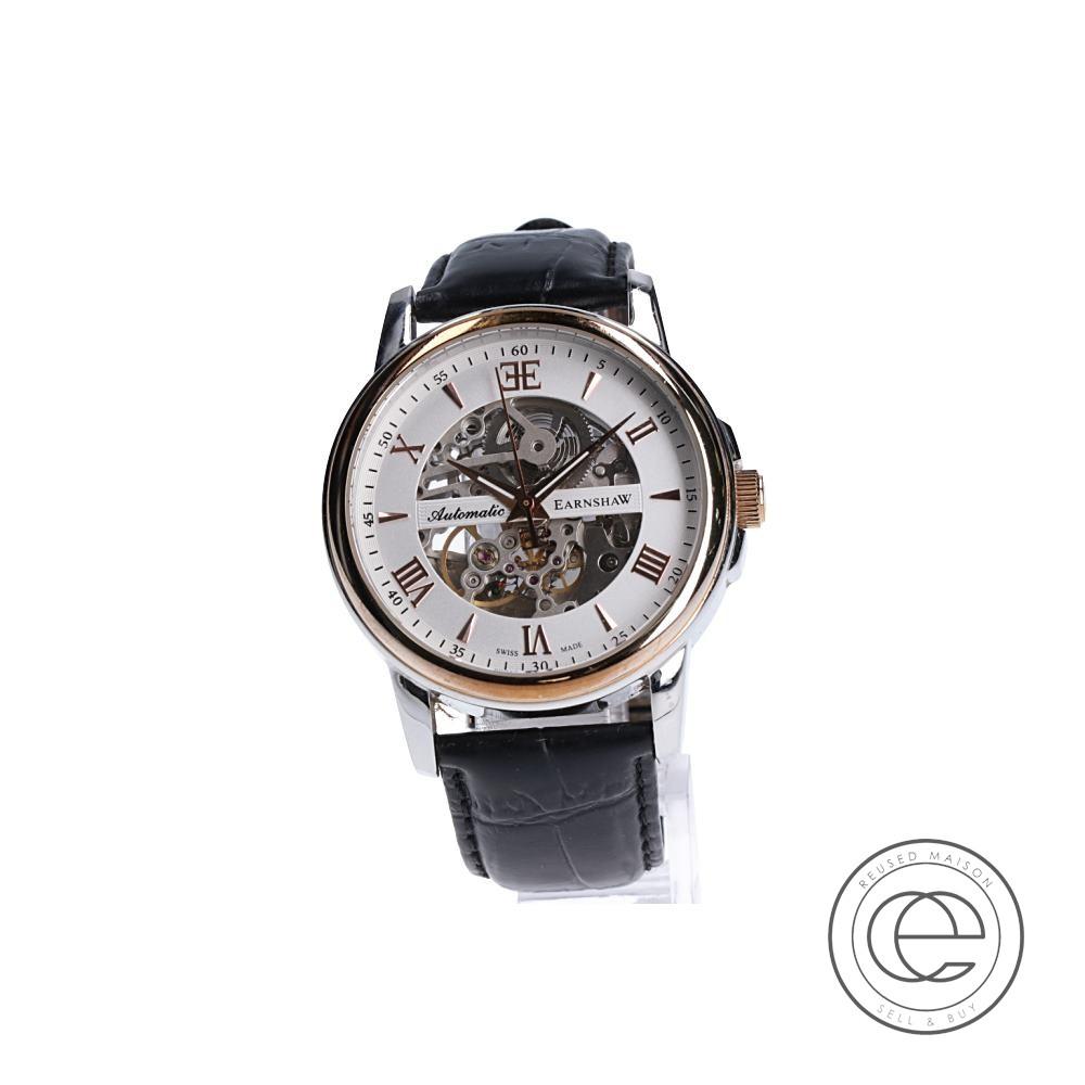EARNSHAWアーンショウ ES-0014 BEAGLEビーグル スケルトン 自動巻き 腕時計 シルバー×ゴールド メンズ 【中古】
