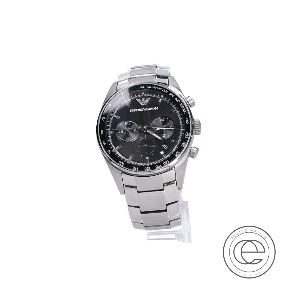 EMPORIO ARMANI エンポリオアルマーニ AR5980 クロノグラフ クォーツ 腕時計 シルバー メンズ 【中古】