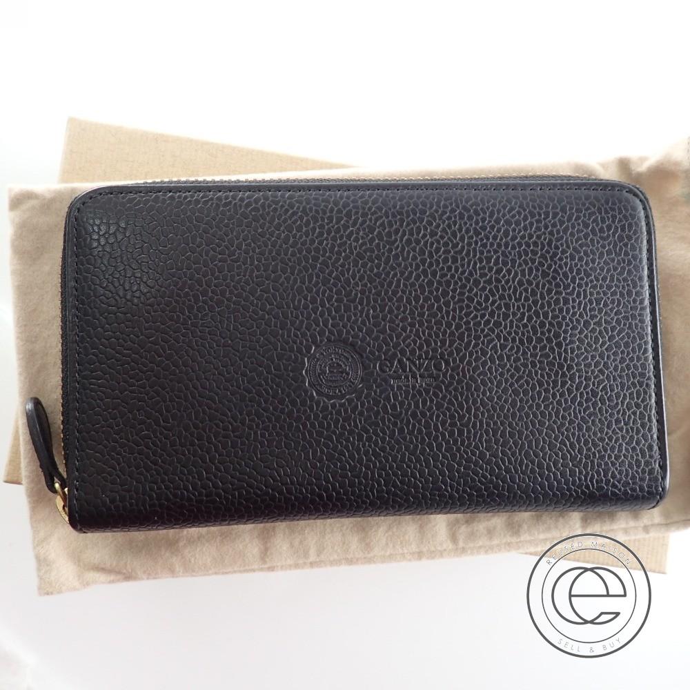 GANZO ガンゾ 57505 GD ジーディーシリーズ 型押しレザー ラウンドファスナー 長財布(小銭入れあり) ブラック メンズ 【中古】