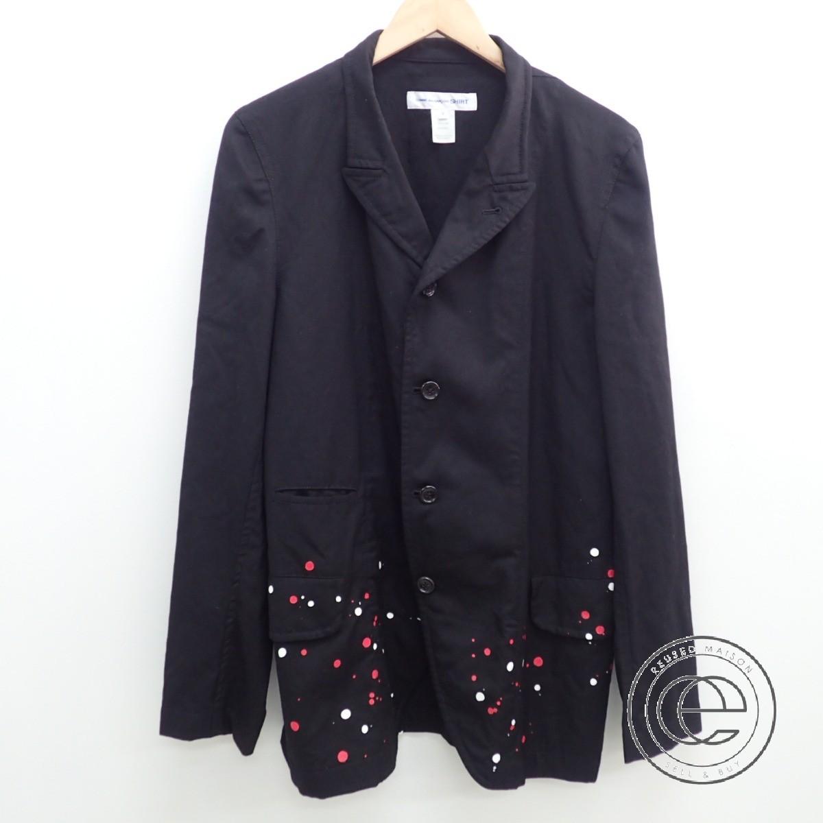COMME des GARCONS GARCONS GARCONS SHIRT コムデギャルソンシャツ W23168 paint splatter blazer ペイント加工ジャケットM ブラック メンズ 【中古】 838