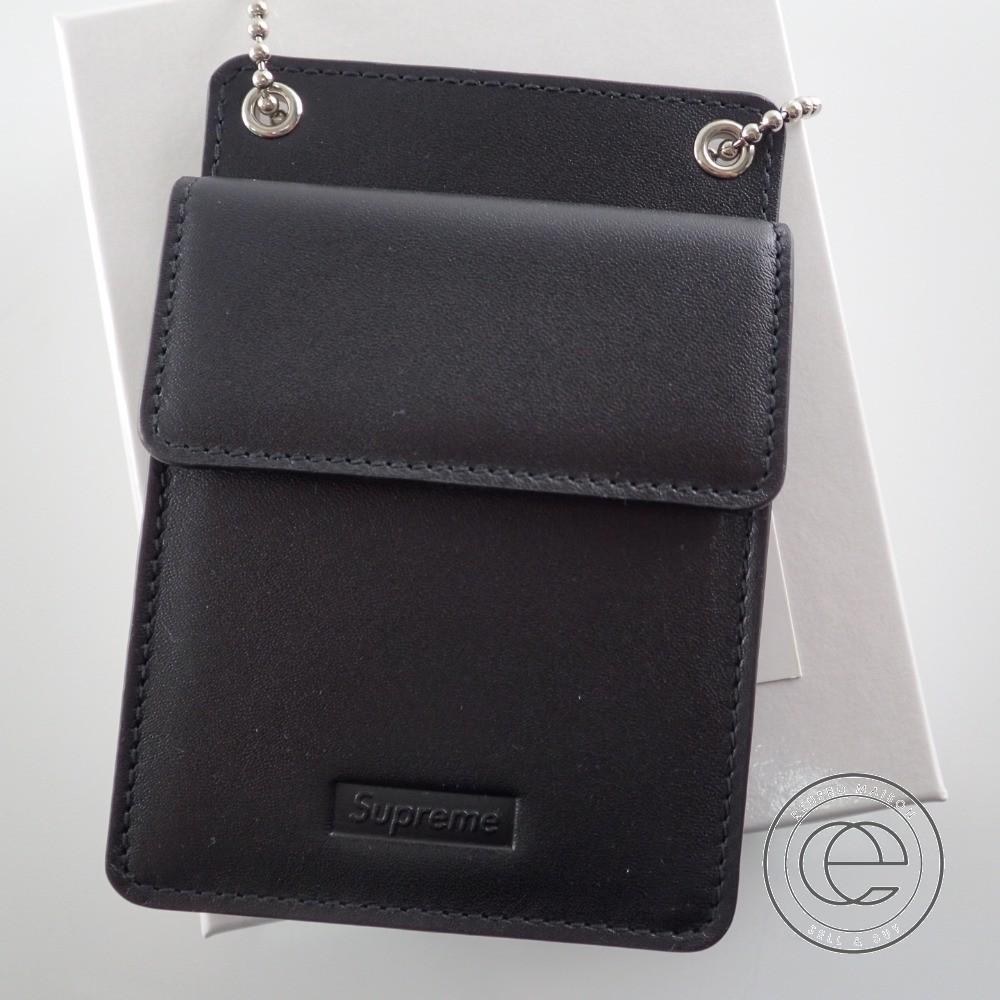 Supreme シュプリーム 18AW Leather ID Holder+Wallet チェーン レザー IDホルダー/ウォレット カードケース ブラック 【中古】