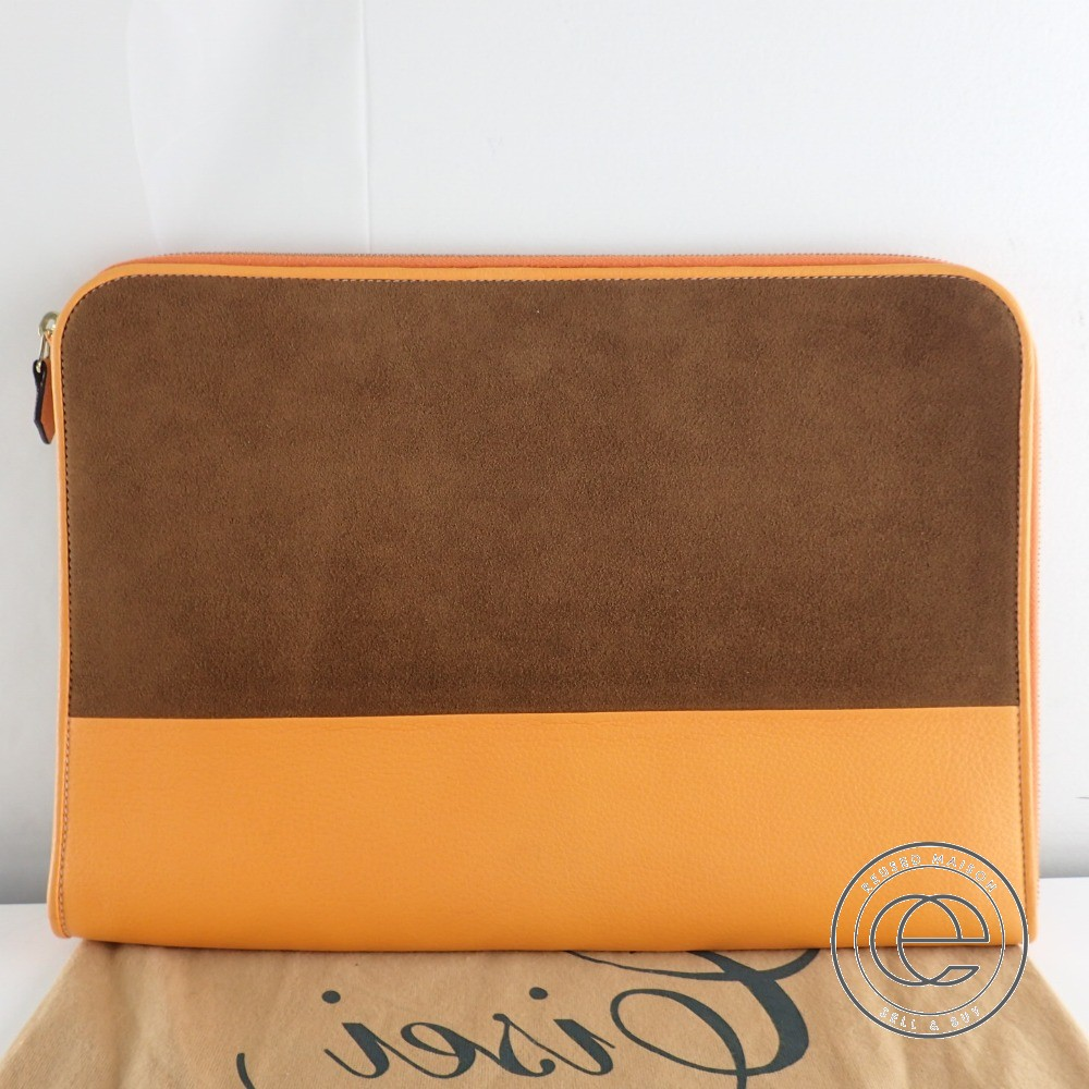 CISEI シセイ レザー×スエード バイカラー クラッチバッグ オレンジ/ブラウン メンズ 【中古】