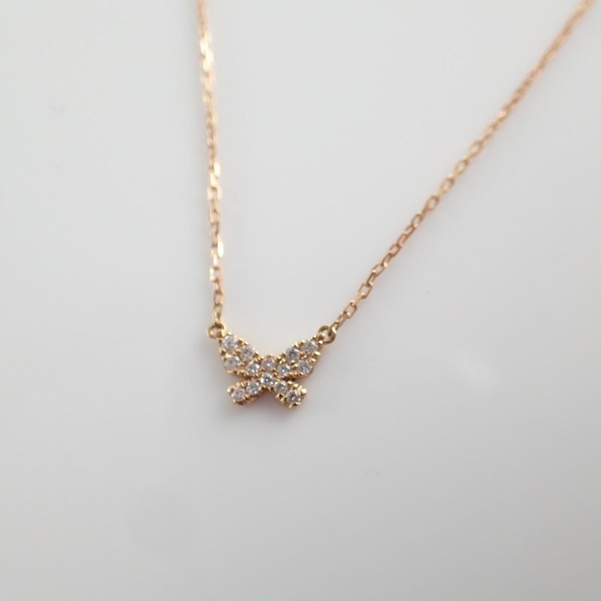 AHKAH アーカー VC0163010100 バタフライパヴェ ダイヤモンド ネックレス 0 06ct K18 イエローゴールド レディースBxoerCQdW