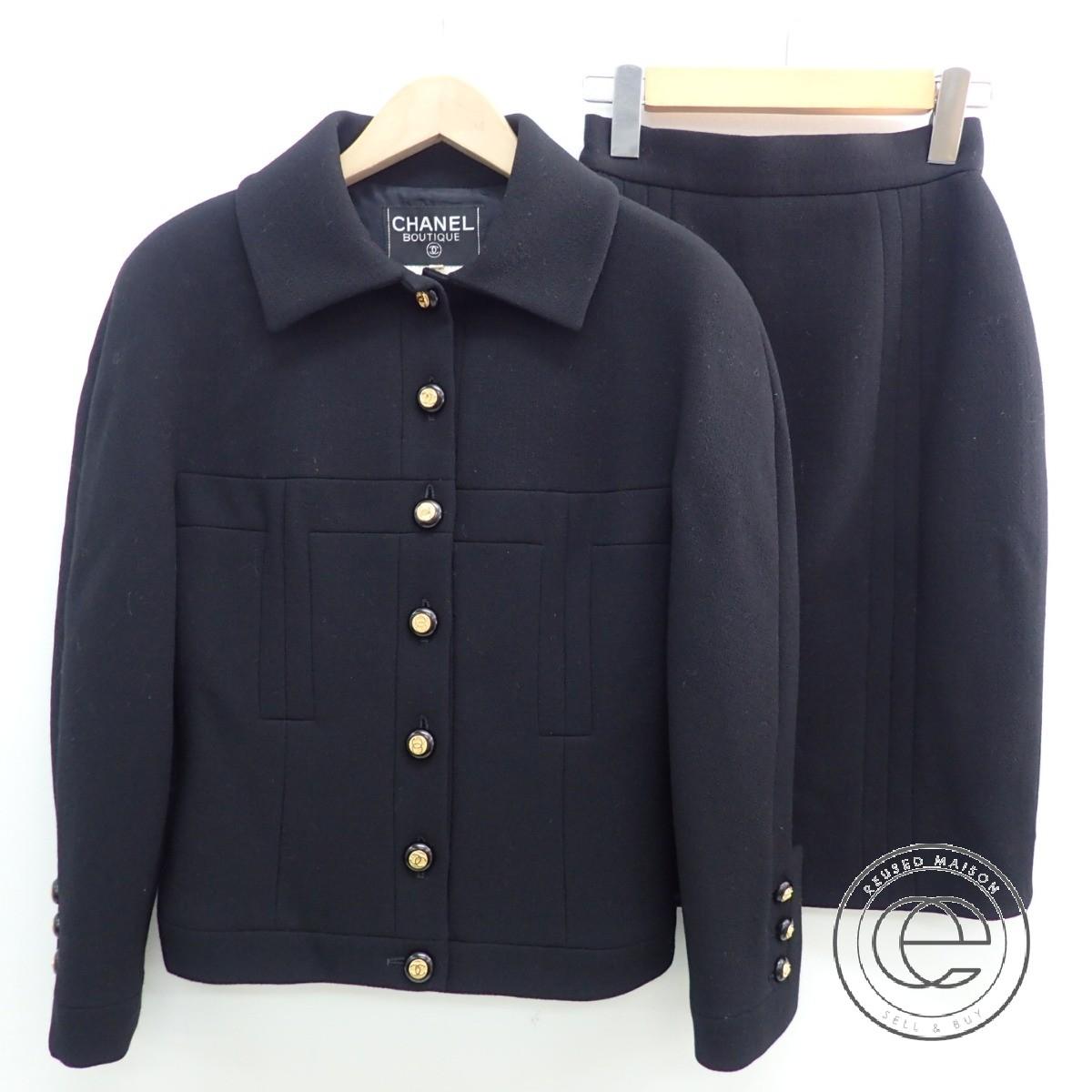 CHANELシャネル ココマーク釦 ジャケット& スカート セットアップ スーツ 34 ブラック レディース 【中古】