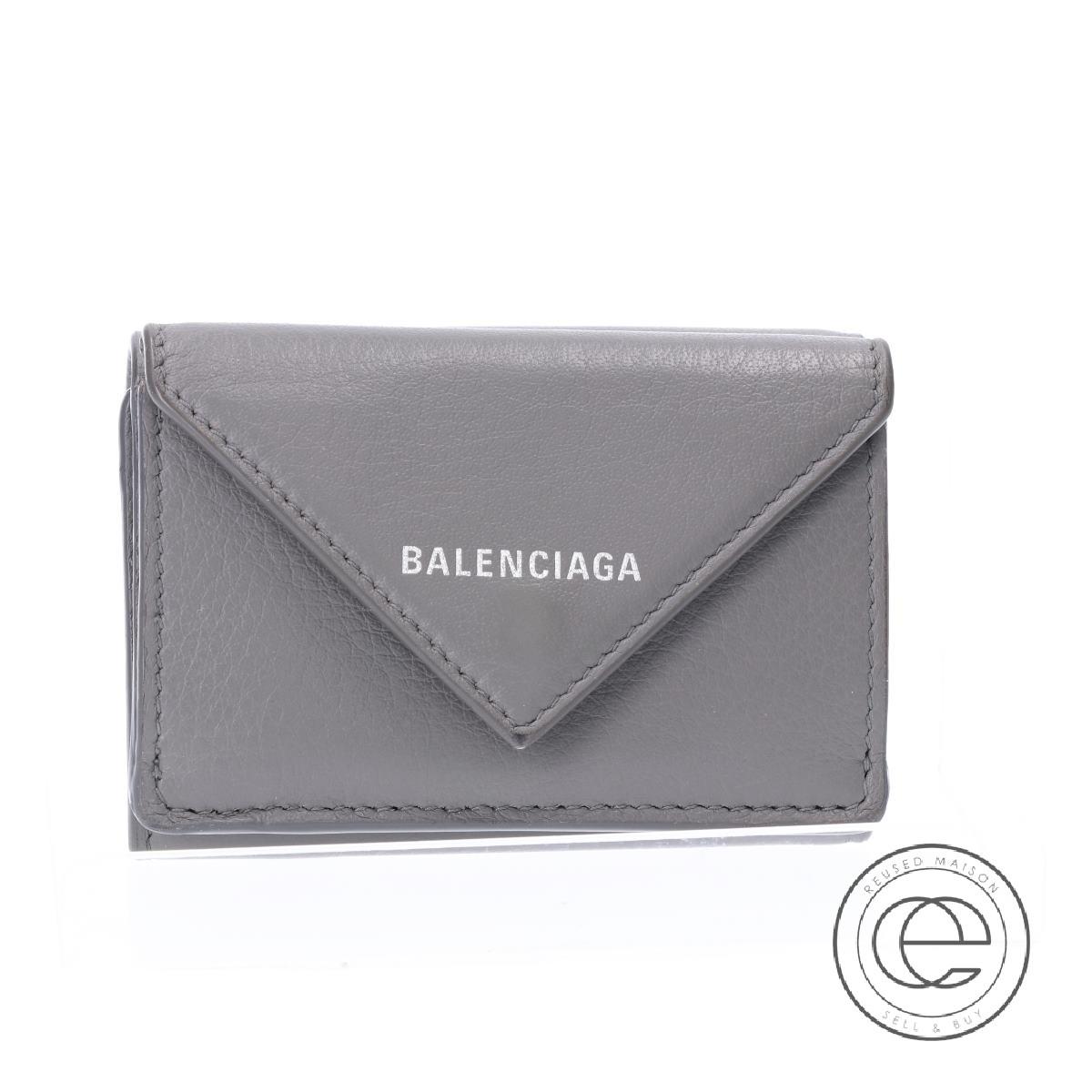 BALENCIAGA バレンシアガ 391446 1215 PAPER ペーパーミニウォレット 三つ折り財布(小銭入れあり) グレー レディース 【中古】