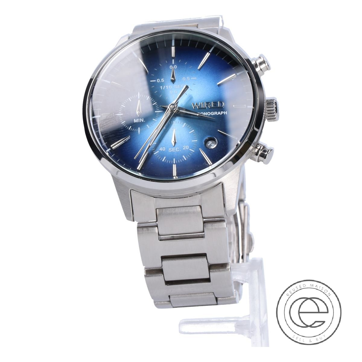 SEIKOセイコー AGAT419 VD57 WIRED TOKYO SORA クロノグラフ クオーツ腕時計 シルバー/ブルー メンズ 【中古】