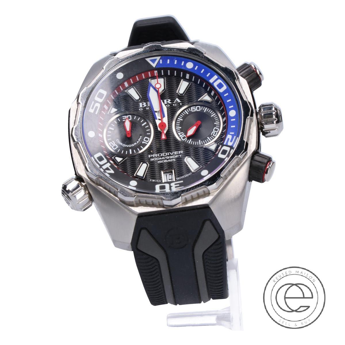 BRERA OROLOGIブレラ オロロジ BRDV2C4701 プロダイバー クロノグラフ SS クオーツ 腕時計 シルバー/ブラック メンズ 【中古】