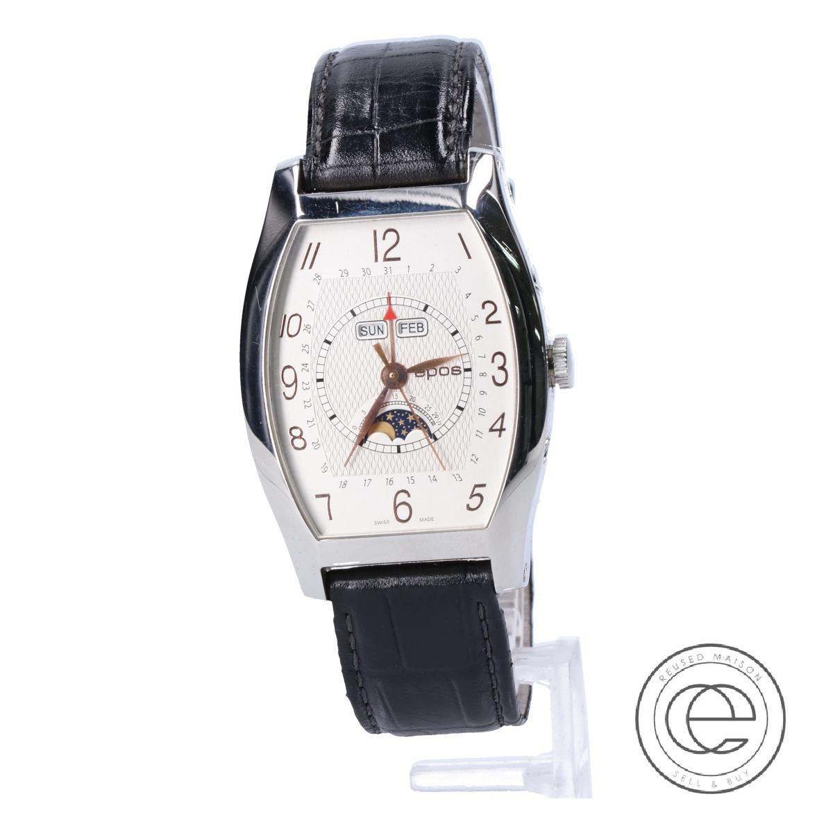 eposエポス 3360SL フルカレンダー ムーンフェイズ トノー 白文字盤 自動巻き 腕時計 シルバー/ブラック メンズ 【中古】