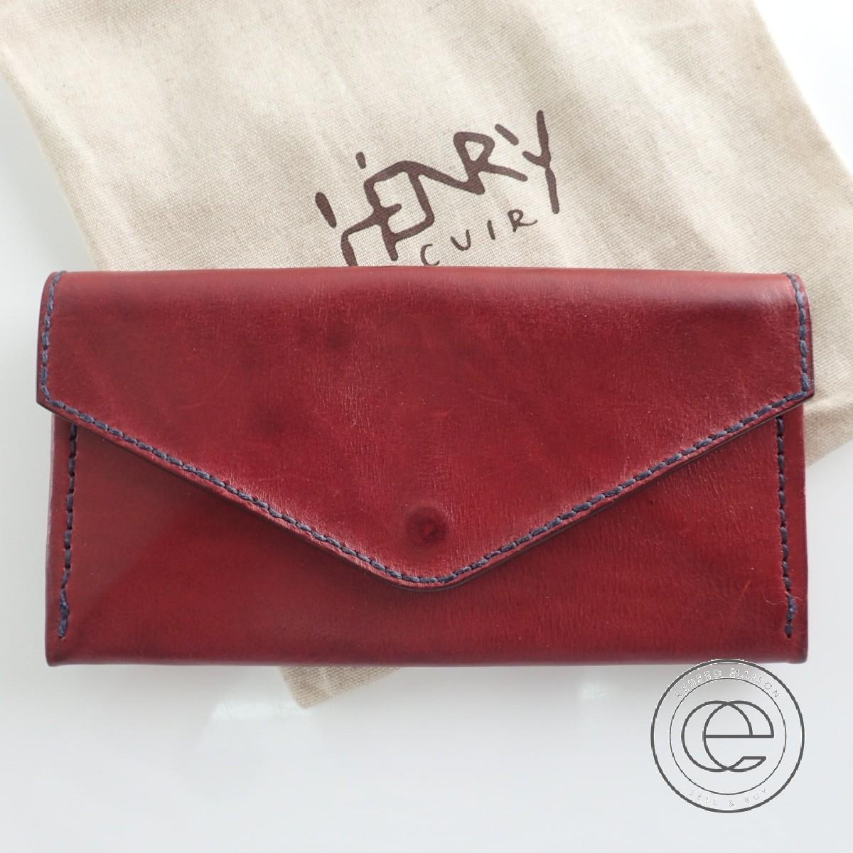 HENRY CUIRアンリークイール EUROPEENユーロピーン 犬刺繍 レザー 長財布(小銭入れあり)BORDEAUXボルドー レディース 【中古】