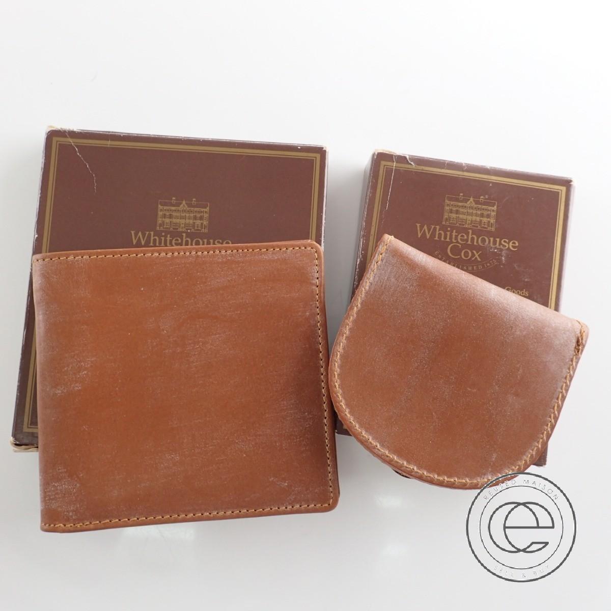 Whitehouse Coxホワイトハウスコックス 5571 & 5765 BRIDLE LEATHR CARD NOTECASE ブライドルレザー 二つ折り財布 & 馬蹄形コインケース 計2点 二つ折り財布(小銭入れなし) NEWTONニュートン メンズ 【中古】