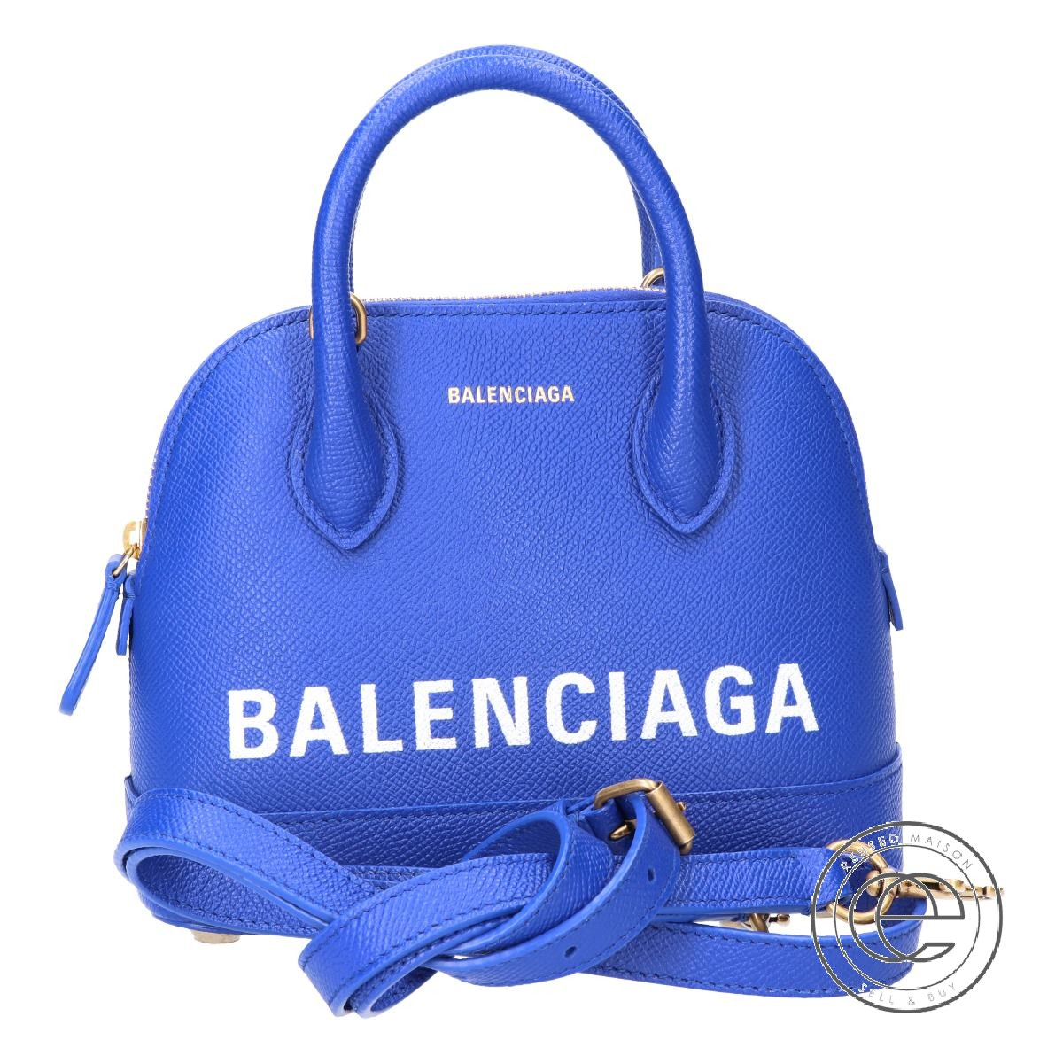 BALENCIAGA バレンシアガ VILLE TOP HANDLE XXS ロゴ 2WAYショルダー ハンドバッグ ブルー系 レディース 【中古】