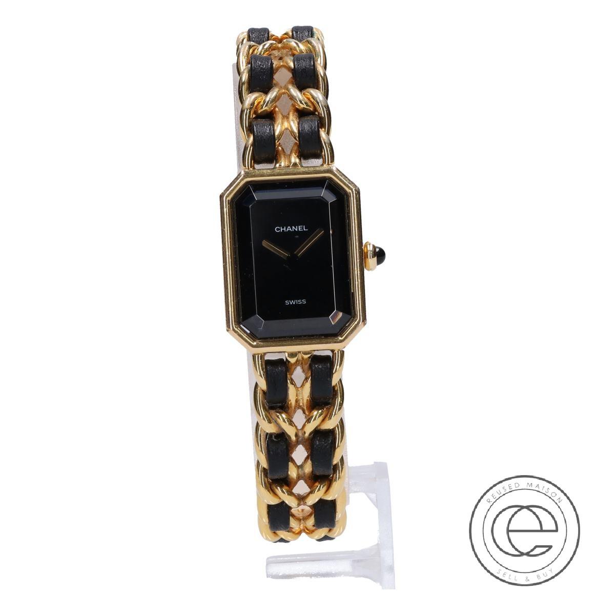 CHANELシャネル プルミエール XL GP×レザー クオーツ 腕時計 ゴールド×ブラック レディース 【中古】