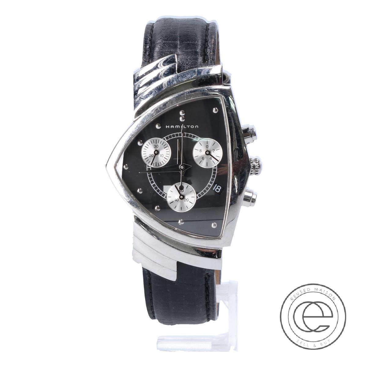 HAMILTONハミルトン H244121 ベンチュラ クロノグラフ 腕時計 シルバー/ブラック メンズ 【中古】