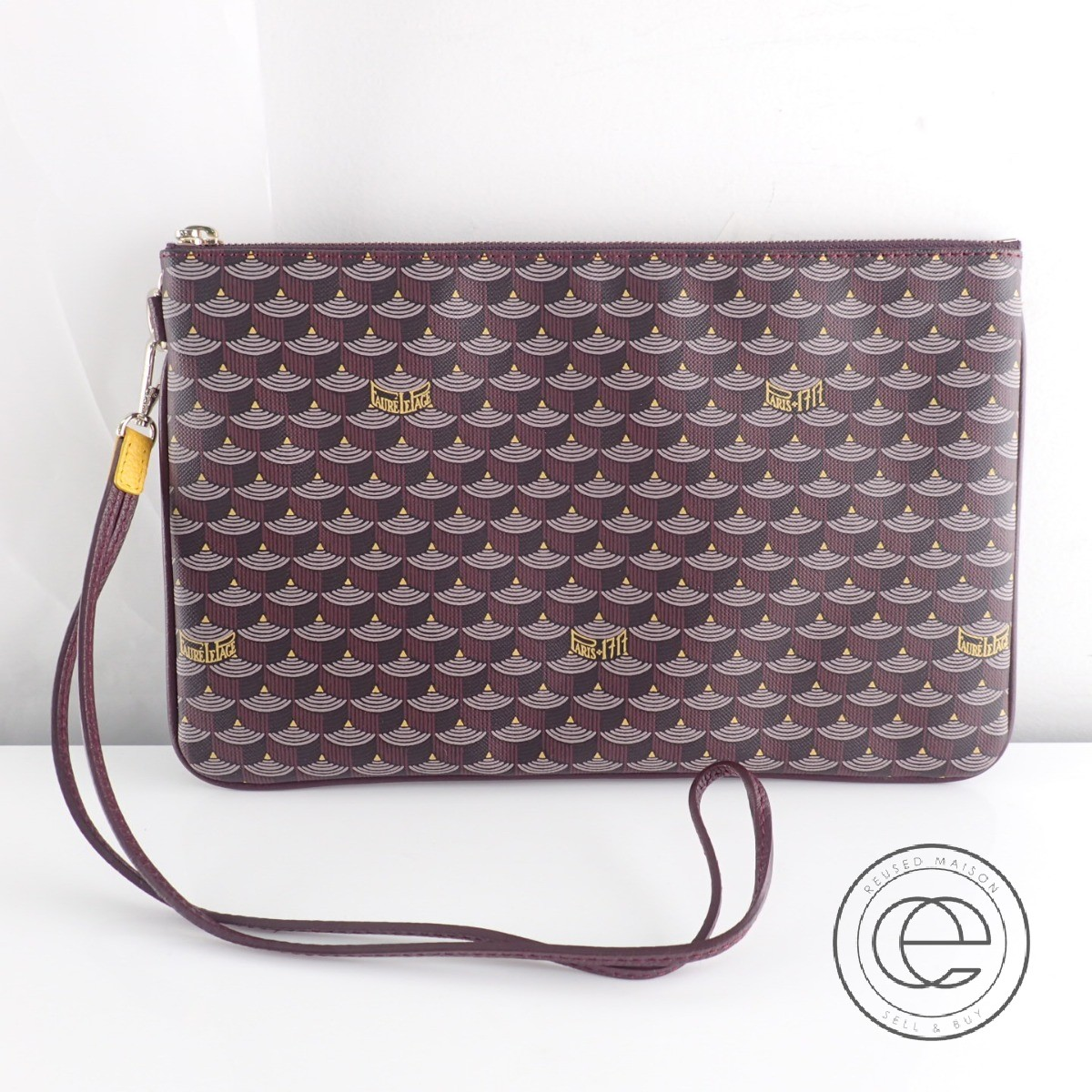 FAURE LE PAGE PARIS フォレルパージュパリ POCHETTE ZIP 29 エカイユ柄 クラッチバッグ ボルドー【中古】