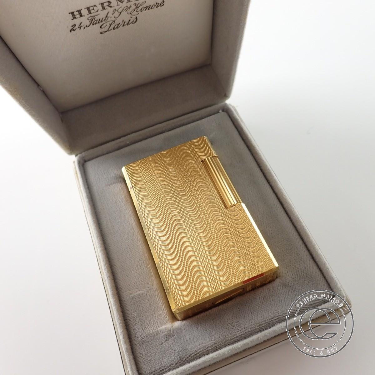 Dupont デュポン Hermesエルメス ダブルネーム ゴールド 波柄 ガス ライター ゴールド 【中古】