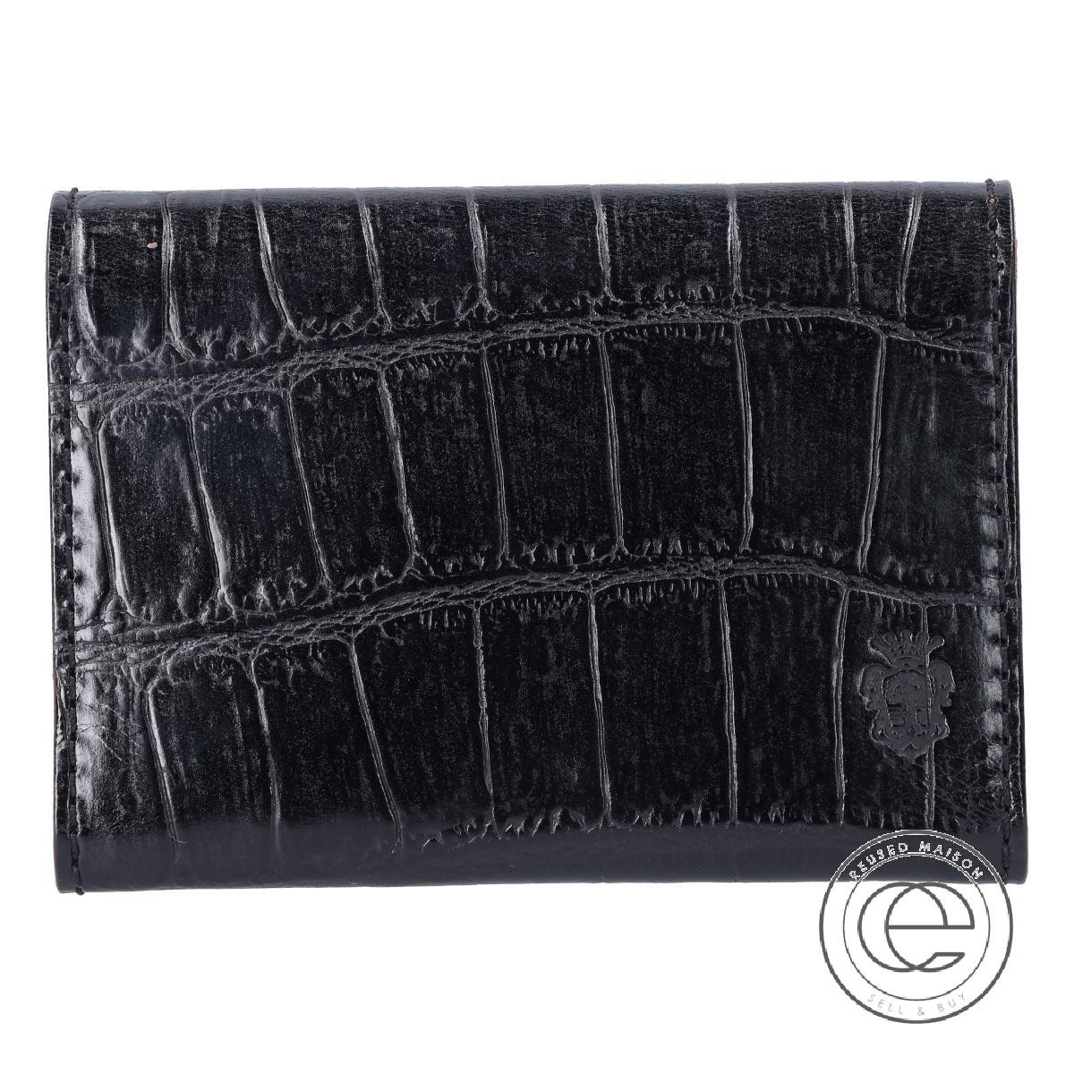 Felisi フェリージ 909/SA エンボスレザー(クロコ型押し) 2つ折り カードケース ブラック メンズ 【中古】