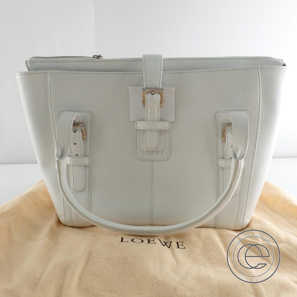 LOEWE ロエベ 310.79.024 TEXTILE レザー トートバッグ ホワイト レディース 【中古】