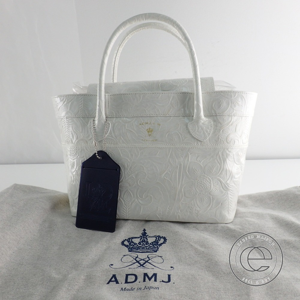 ADMJ Accessoires De Mademoiselle ADMJアクセソワ ボタニカル型押しレザー トートバッグ ホワイト レディース 【中古】