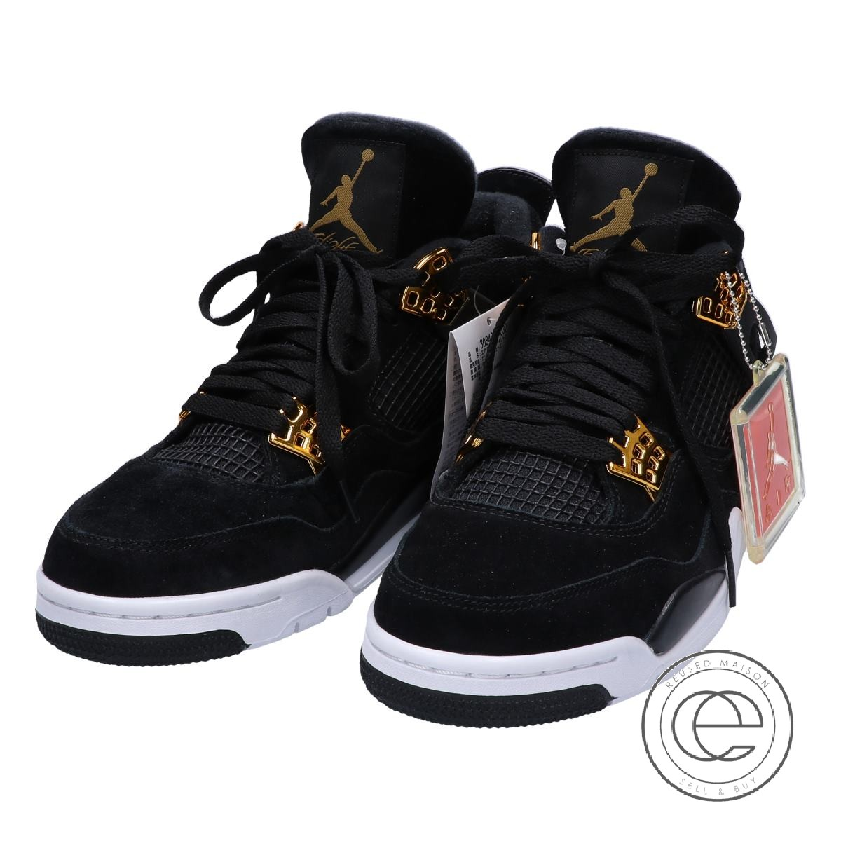 new concept 53a61 d19f1 NIKE Nike 308,497-032 AIR JORDAN 4 RETRO ROYALTY Air Jordan 4 nostalgic  royalty sneakers 26 BLACK/METALLIC GOLD-WHITE men