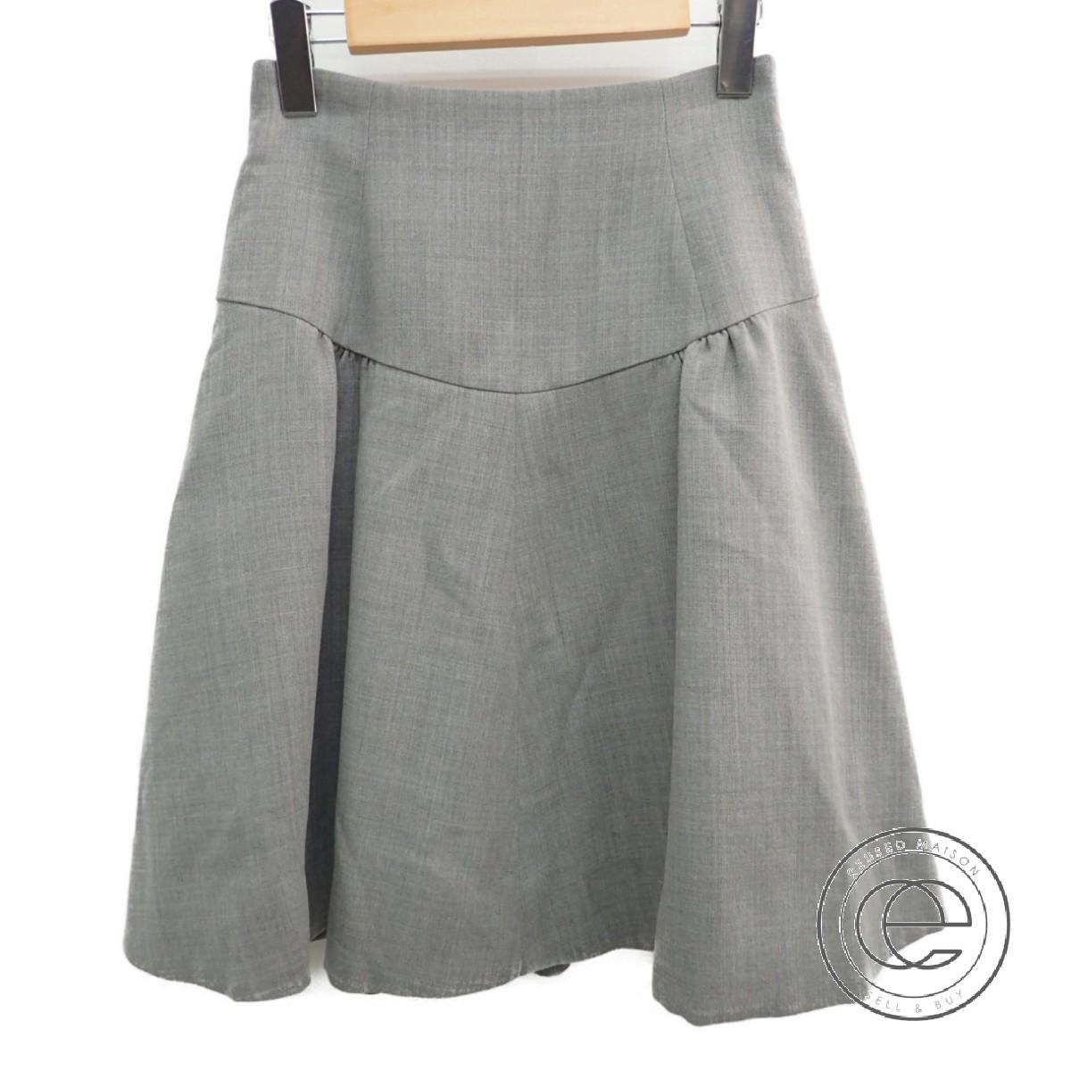 FOXEY フォクシー 30920 モンサンミッシェル 裏地付 フレア スカート 38 ソフィーグレー レディース 【中古】