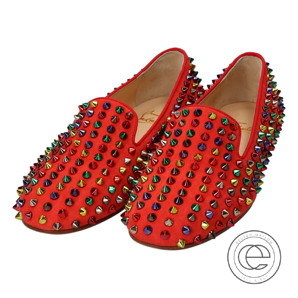 3b81a9d4de2 Christian Louboutin クリスチャンルブタン 1121095 ROLLING SPIKES FLAT VEAU VELOURS/GG  Rawlings pike flat bell bed flattie 36 red / ...