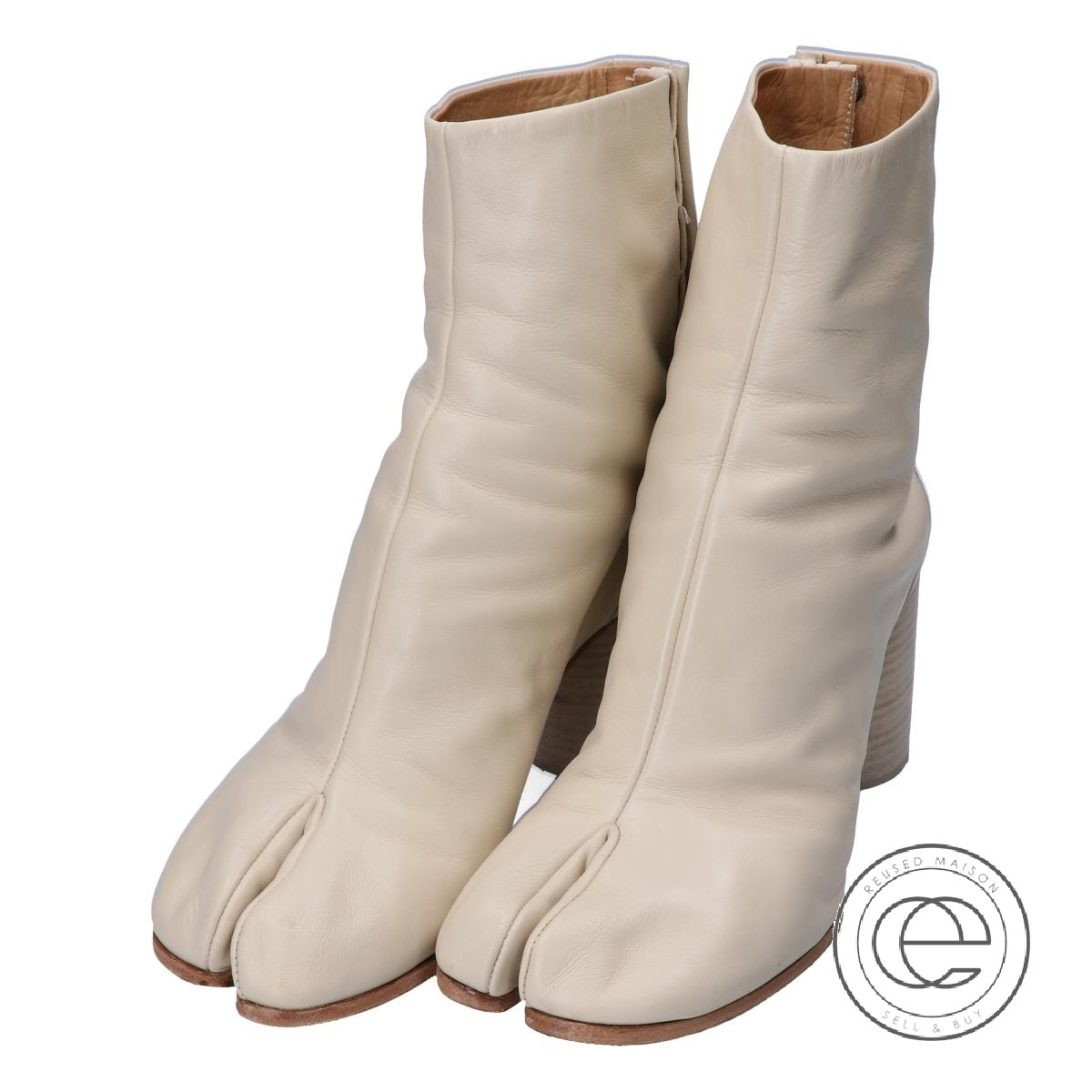 e12a12578e3d MAISON MARGIELA メゾンマルジェラ 22 17AW S58WU0136 TABI BOOTS レザー 足袋ブーツ 38 アイボリー  レディース【