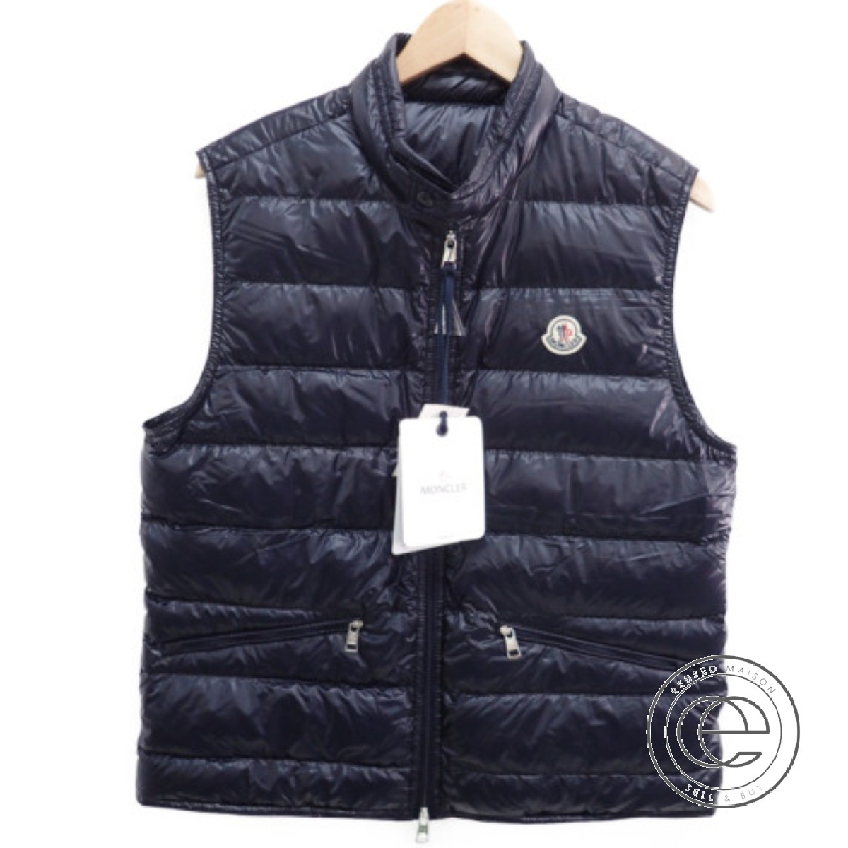 61109d128 MONCLER Monk rail GUI LONGUE SAISON stand collar down vest 3 jacket dark  navy men