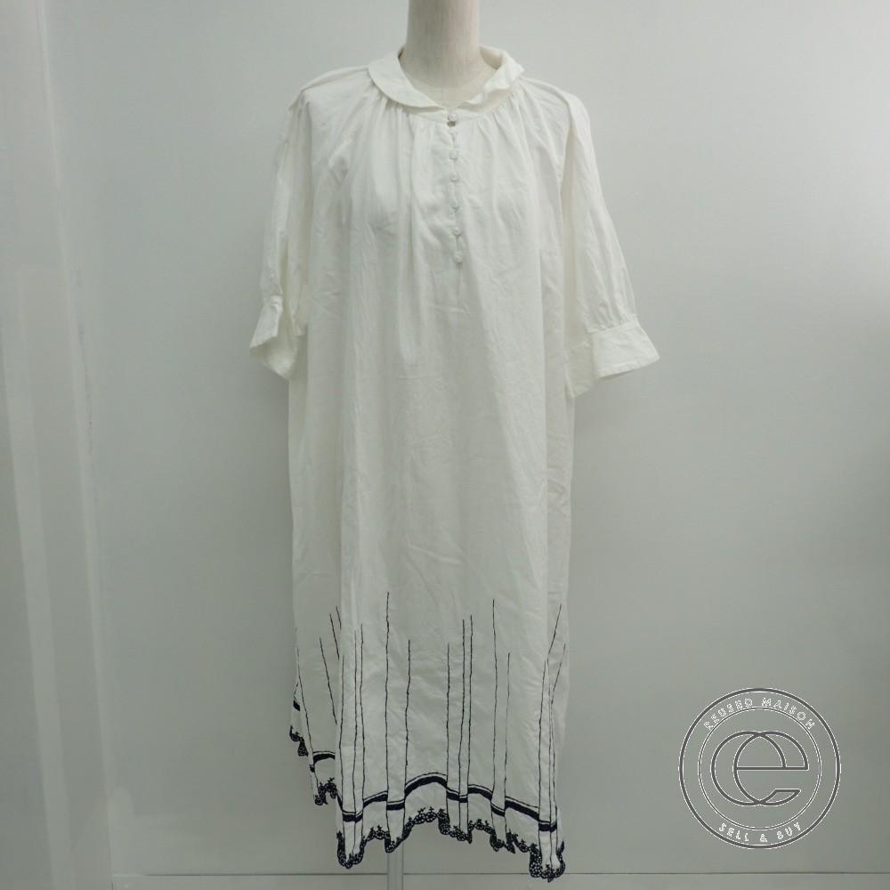 mina perhonenミナペルホネン waltz ランドリーシリーズ 裾刺繍入り 襟付きドレスワンピース38 ホワイト レディース 【中古】