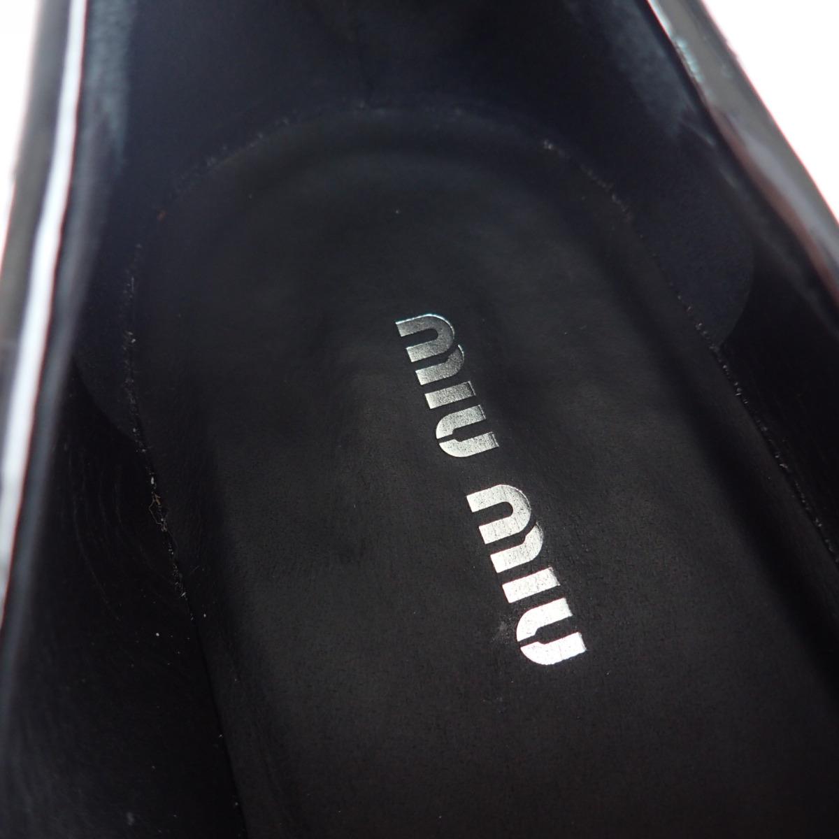 MIUMIU ミュウミュウ パテントレザー ヒールビジュー コインローファー 37 1 2 ブラック レディースZXPkiu