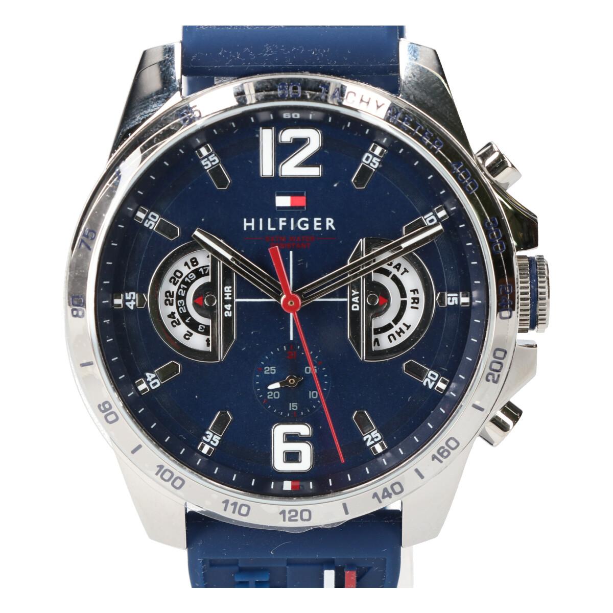 TOMMY HILFIGERトミーヒルフィガー 未使用1791476 シリコンベルト 多針クオーツ腕時計 ネイビー メンズoBedCxrW