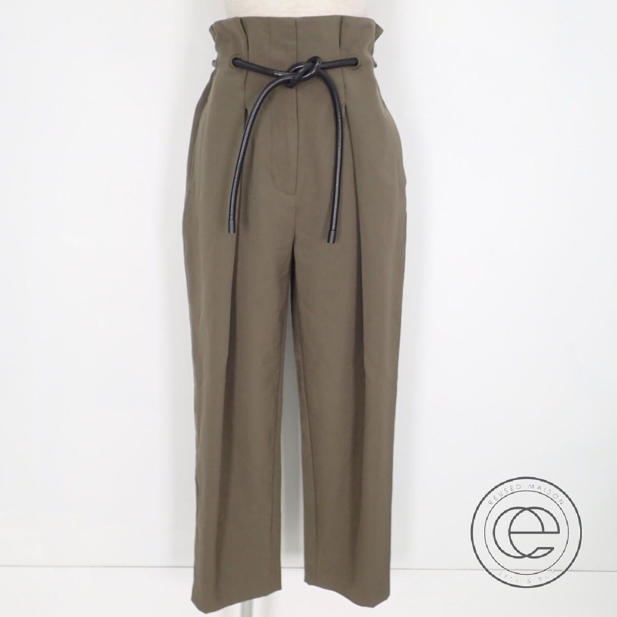 3.1 Phillip Lim 3.1フィリップリム F1615103WGB origami pleat trousers 折り紙 プリーツ レザーベルト付 クロップドパンツ/ボトムス2 カーキ レディース 【中古】
