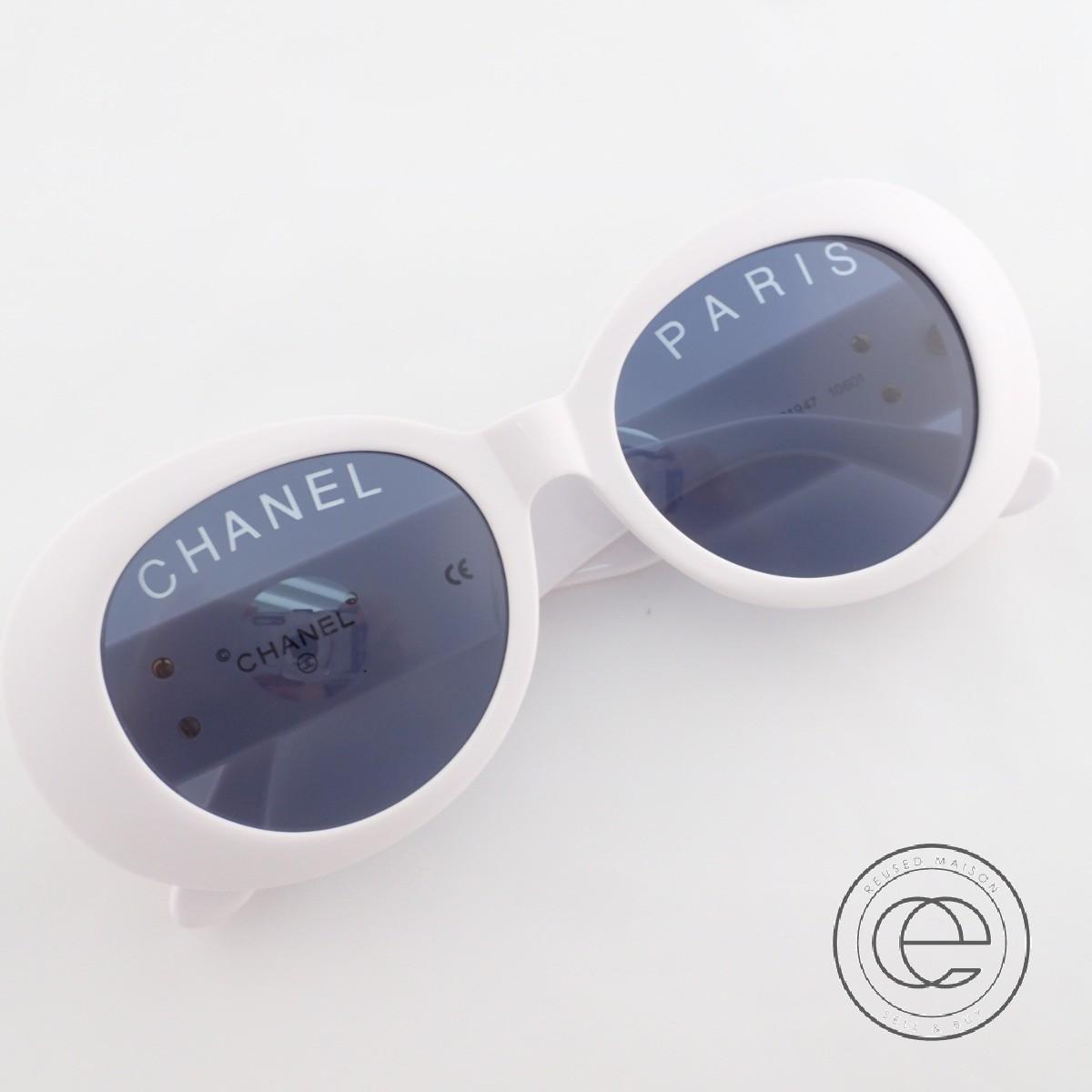 CHANEL シャネル 01947 10601 CC ココマーク オーバル ロゴレンズ サングラス ホワイト レディース 【中古】