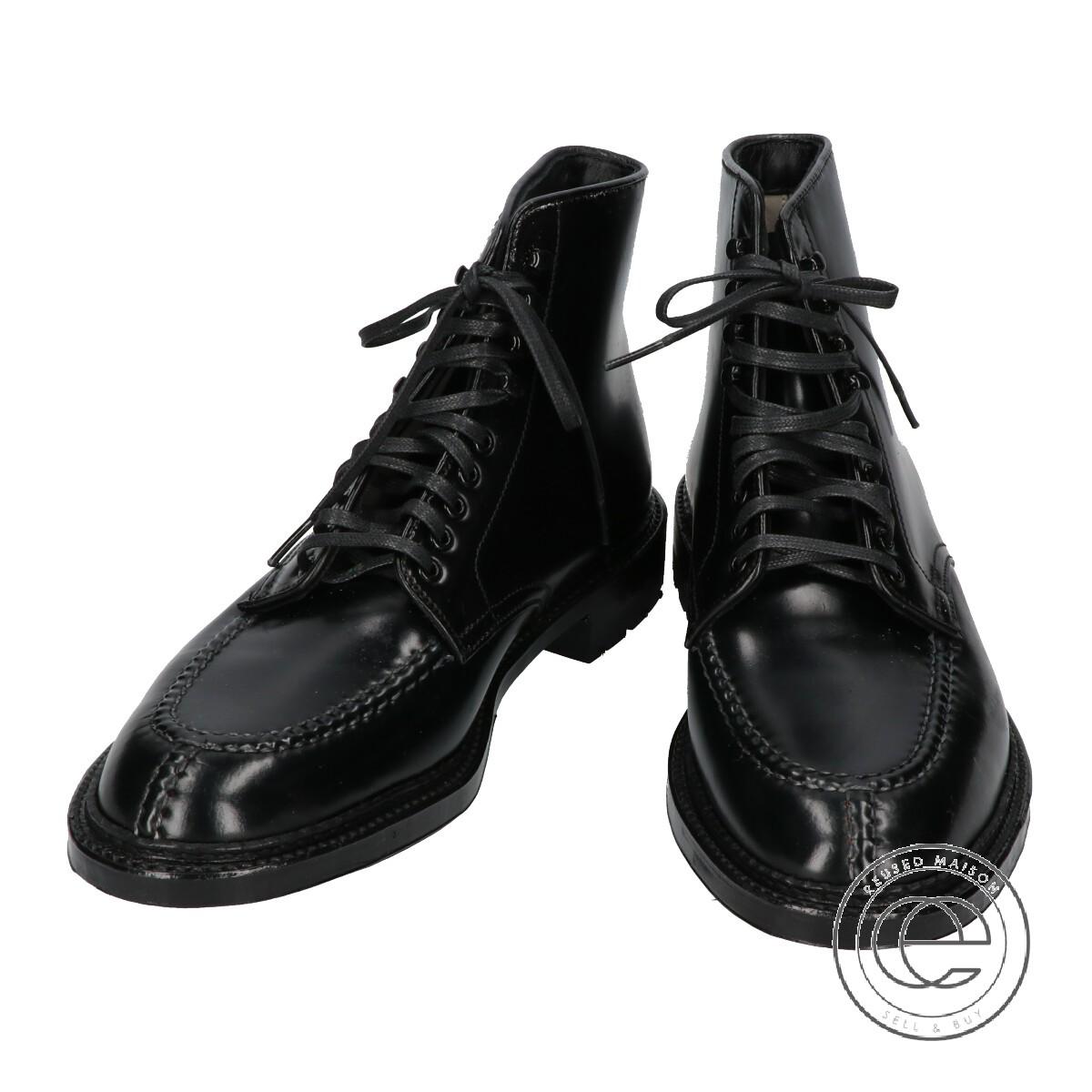 Alden FOR LeatherSoul オールデン レザーソウル別注 4027HC コードバン ハワイアンタンカーブーツ 7 1/2D ブラック メンズ【】