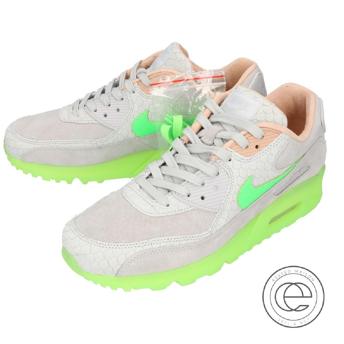 NIKE Nike CQ0786 001 AIR MAX 90 PREMIUM Air Max 90 premium sneakers 26cm PURE PLATINUMELECTRIC GREEN men