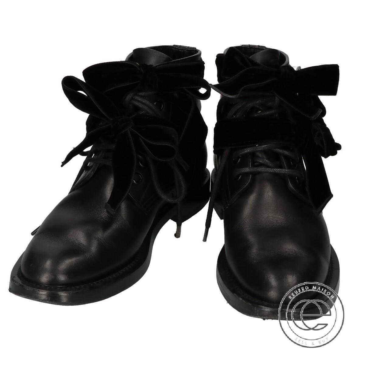 SAINT LAURENT PARIS サンローランパリ スタッズベロアリボン ワークブーツ 36 ブラック レディース【中古】