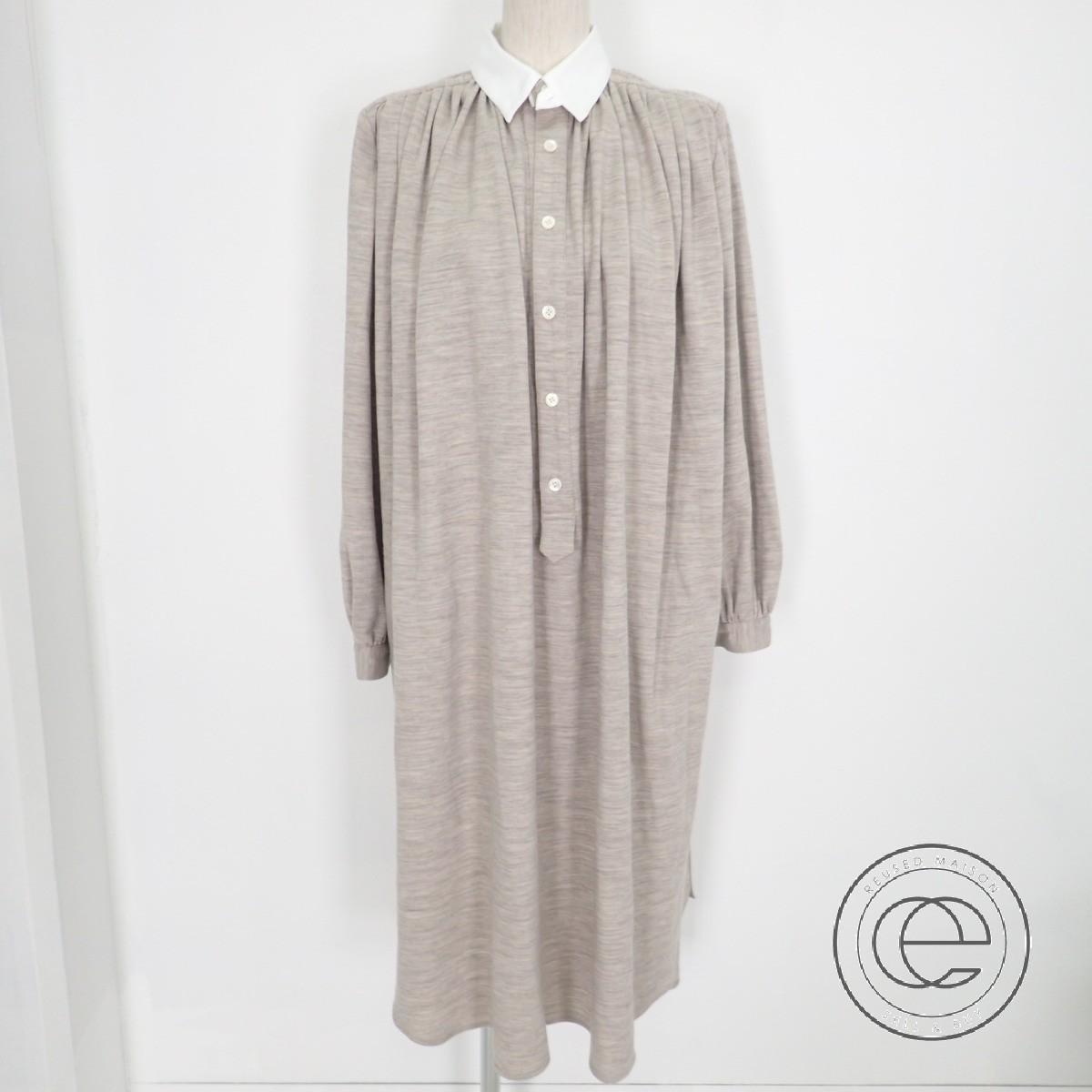 FUMIKA UCHIDA フミカウチダ FU-G-0P001 17AW WOOL PONTE NIGHT SH DRESS ウール ポンテ・ジャージー シャツワンピース 34 ベージュ レディース 【中古】