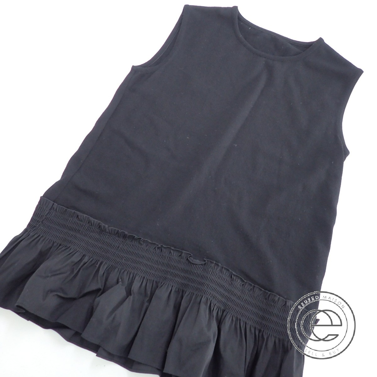FOXEY フォクシー 36839 Smocking A-Line Knit Top スモッキングAライン ノースリーブ ニット トップス40 ブラック レディース 【中古】