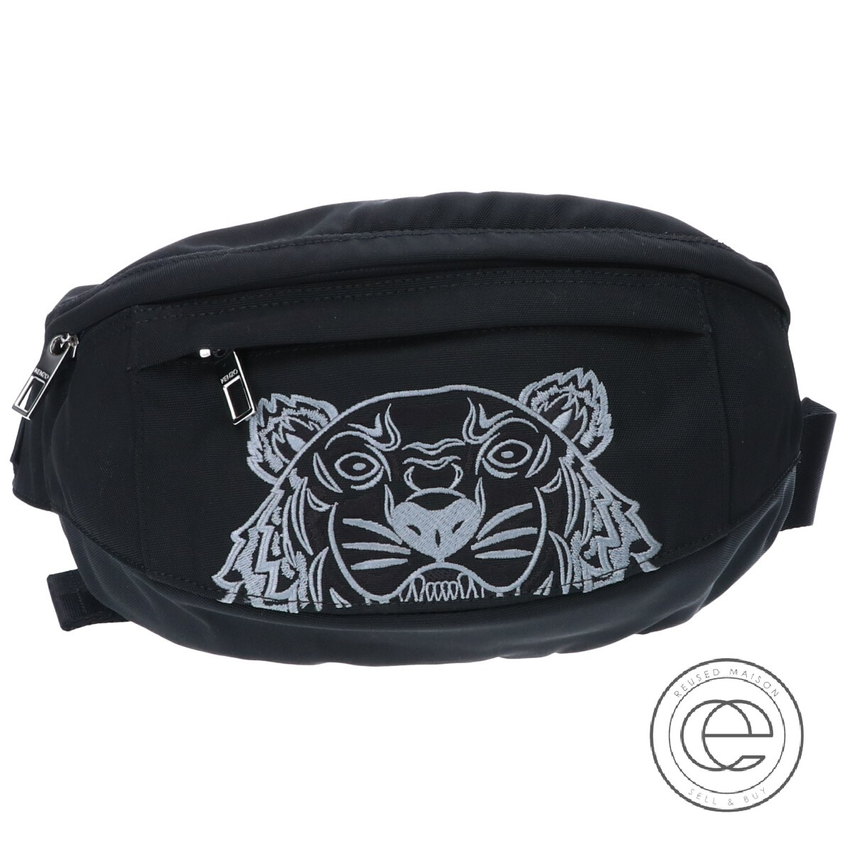 KENZO ケンゾー F965SF307F30 Tigre刺繍付ミニベルトバッグ/ ボディバッグ ブラック メンズ 【中古】