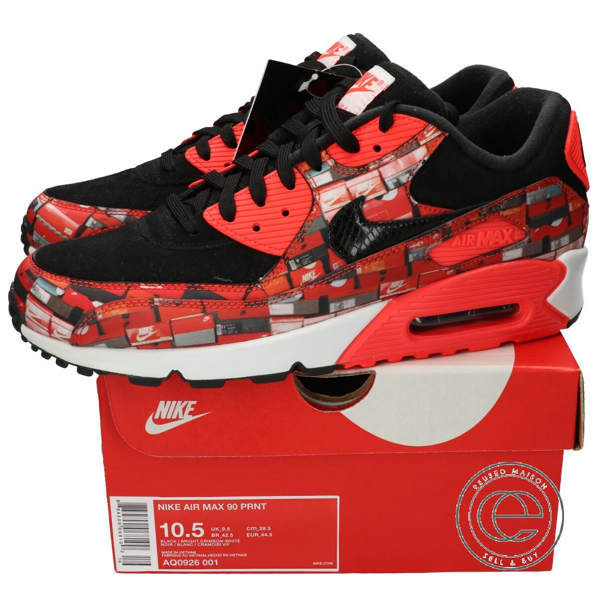 NIKE Nike AQ0926 001 AIR MAX 90 PRNT Air Max 90 print sneakers 28.5cm BLACKBRIGHT CRIMSON WHITE men
