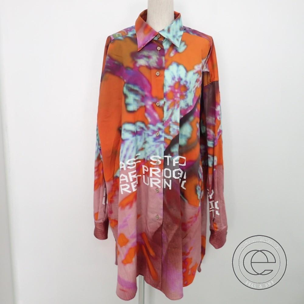 Maison Margielaメゾンマルジェラ 1【国内正規◆19SS】S51DL0280 S49873 TIE DYE PRINT SHIRT DRESS Wタイダイプリント オーバーシャツドレス/ワンピースXXS オレンジ系 レディース 【中古】