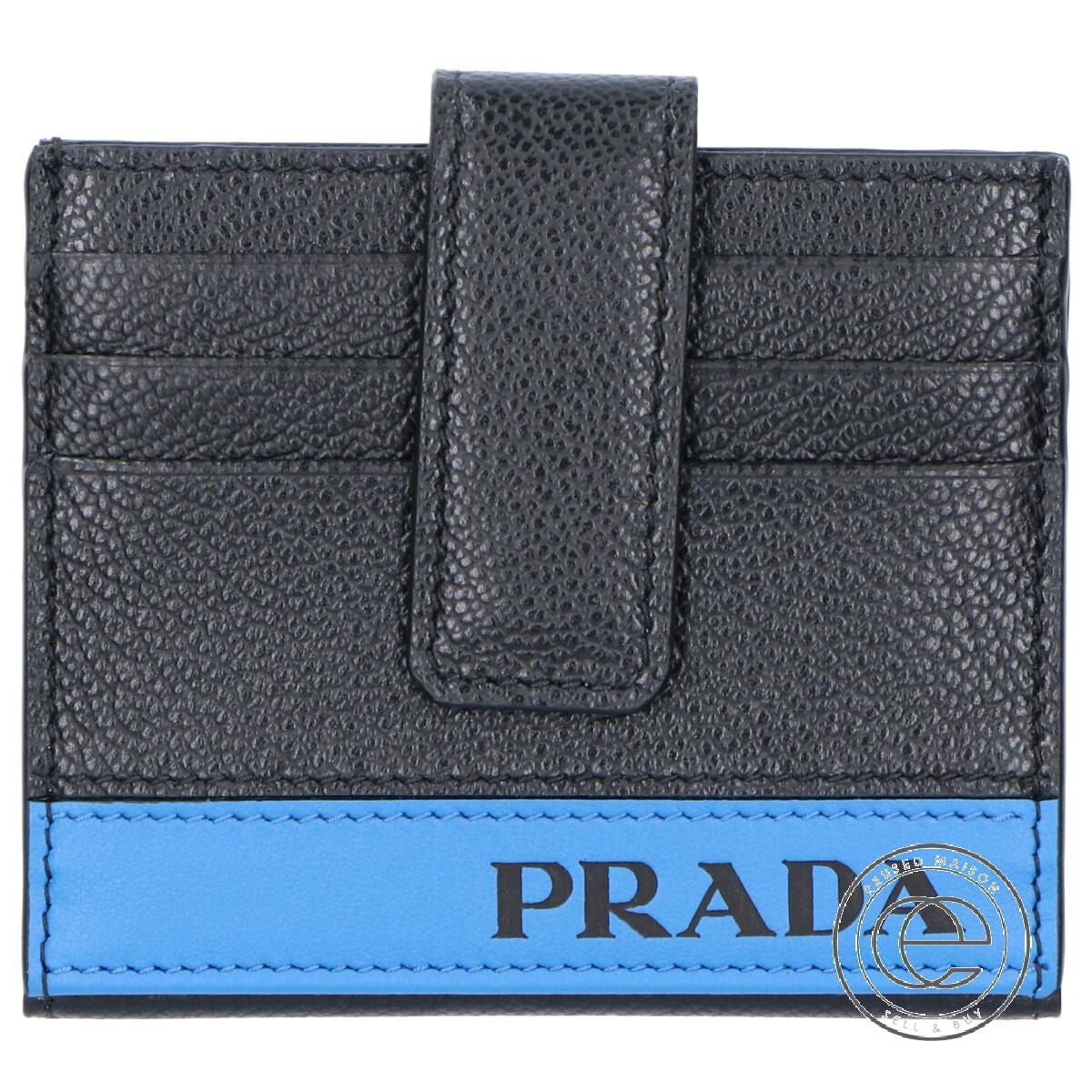 PRADA プラダ 2MC049 2CIG VIT.MICRO GRAIN レザー 二つ折り カードケース NERO+MAREA メンズ 【中古】