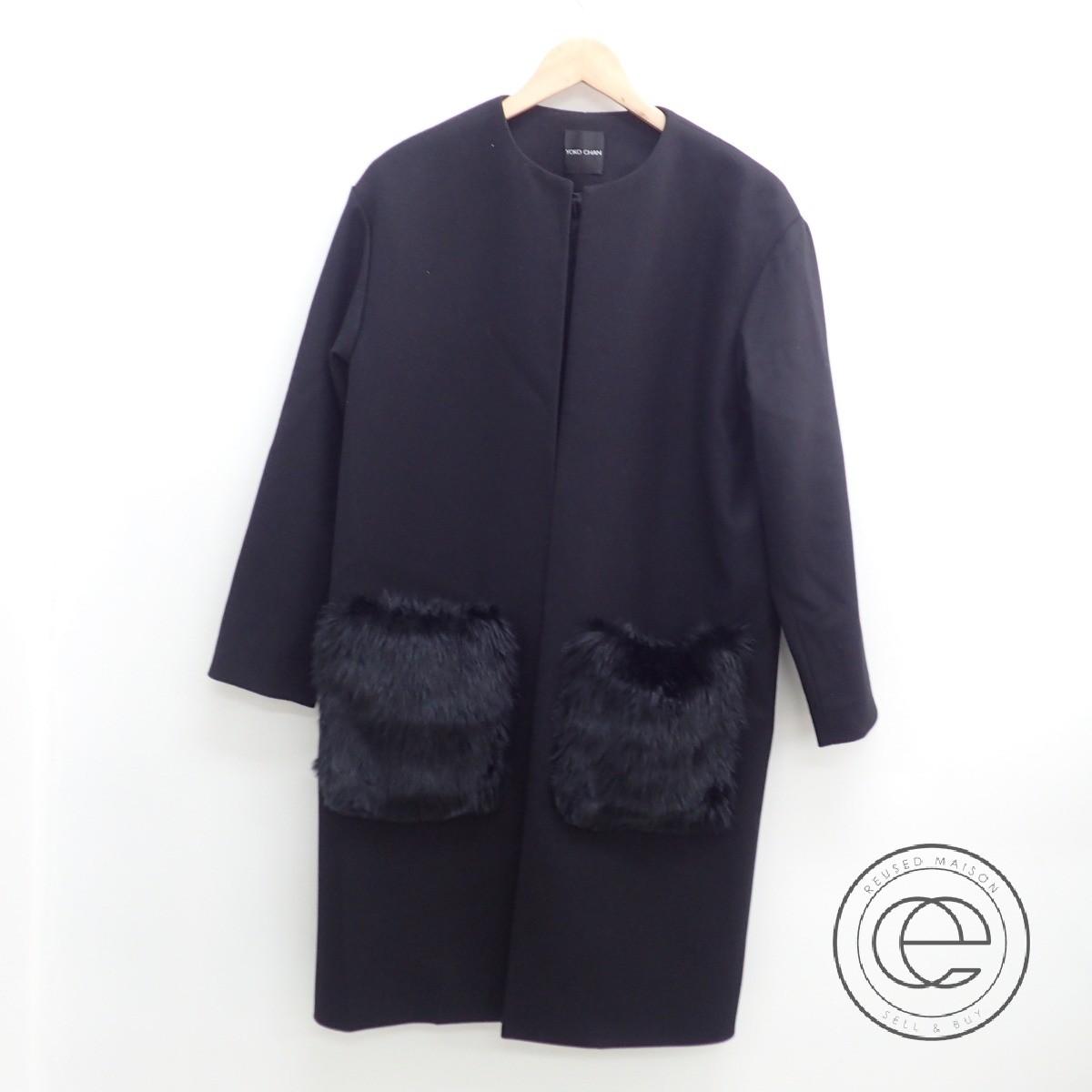 YOKO CHAN ヨーコチャン 17年製 YCC-317-069 フォックスポケットファー ノーカラーコート38 ブラック レディース 【中古】