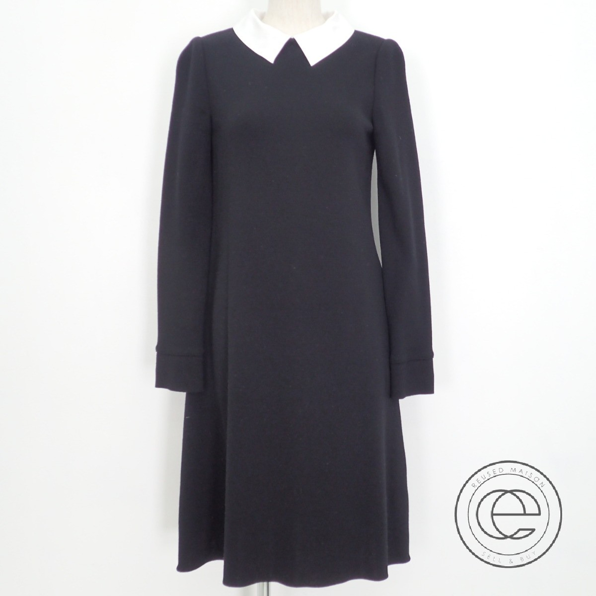 FOXEYフォクシー 17年製 37125 Knit Dress Marion 白襟付 ウール ニットワンピース40 ブラック レディース 【中古】