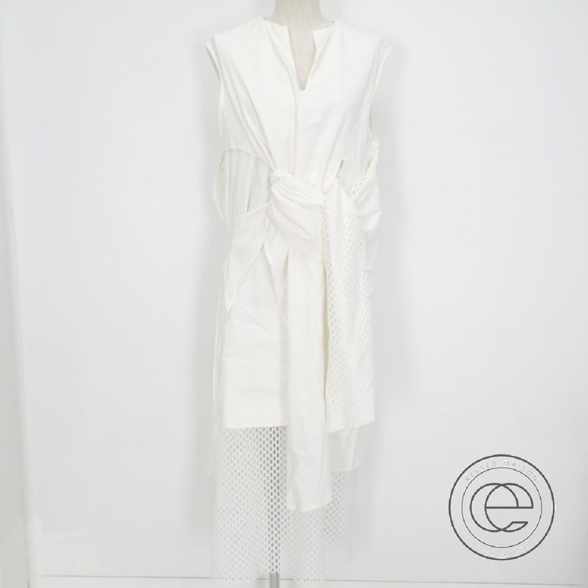 UN3D. アンスリード 521710302701 MESH SASH DRAPE DRESSメッシュサッシュドレープドレス/ ワンピースF ホワイト レディース 【中古】
