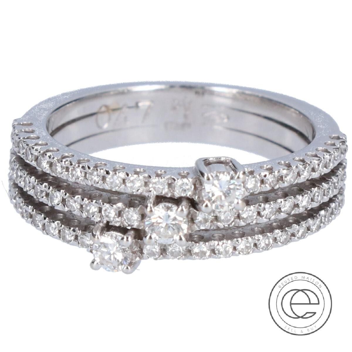 Ponte Vecchio ポンテヴェキオ K18WG ダイヤモンド 3連デザイン リング10号 指輪 ホワイトゴールド レディース 【中古】