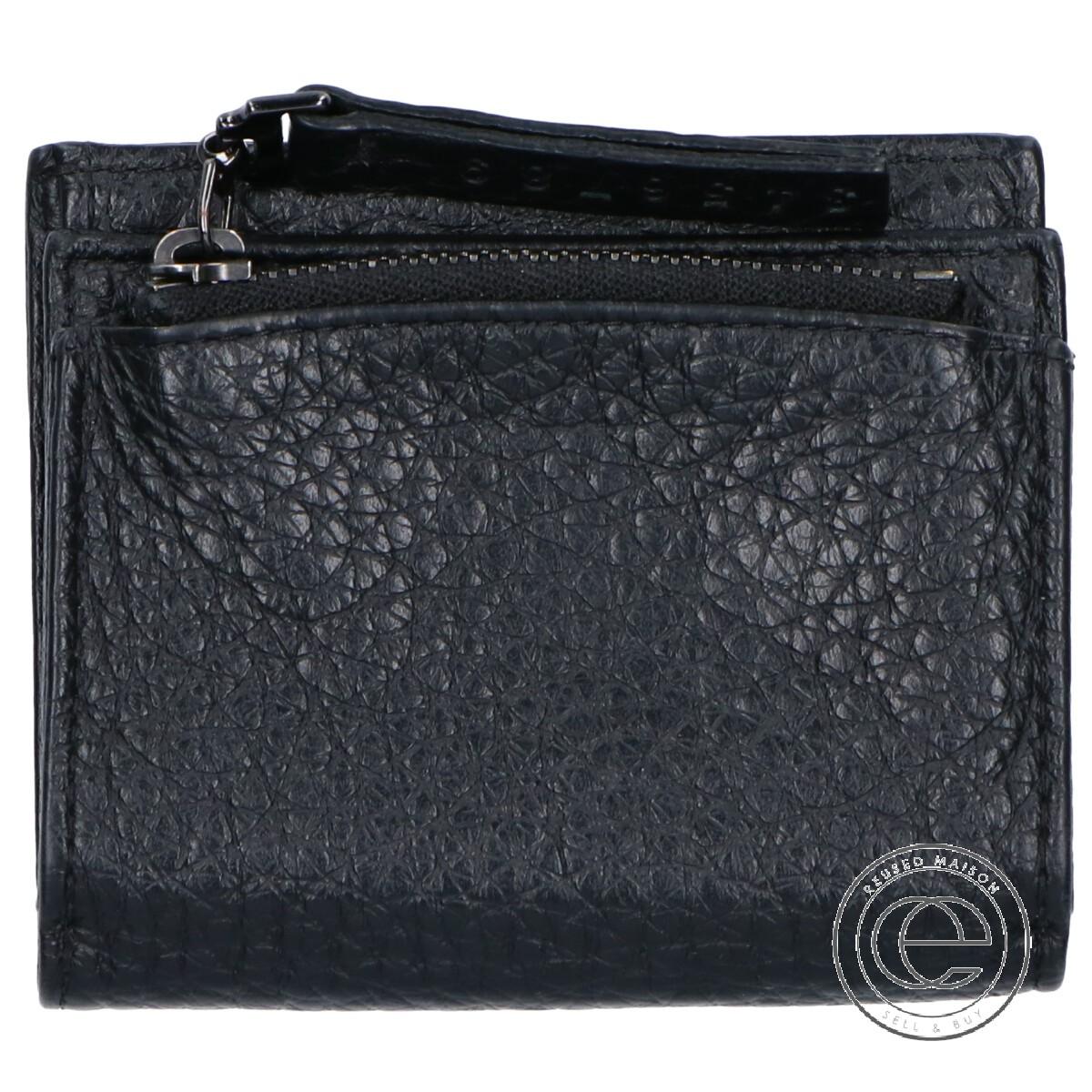 Maison Margiela メゾンマルジェラ #11 シボ革 二つ折り コンパクトウォレット 二つ折り財布(小銭入れあり) ブラック レディース 【中古】