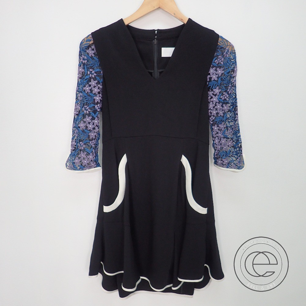 mameマメ 17SS MM17SS-DR013 Tulle Embroidered Sleeve Dress チュールエンブロイダリースリーブ ドレス/ワンピース1 ブラック レディース 【中古】